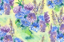 Watercolor Hand-Painted Purple Blue Daisies