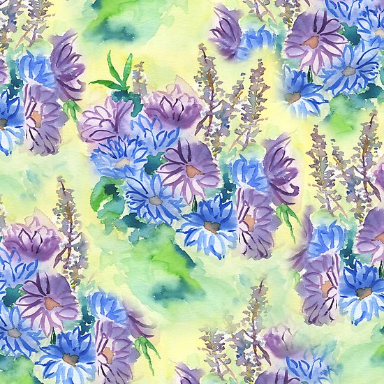 Watercolor Hand-Painted Purple Blue Daisies by Beverly Claire