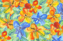 Watercolor Hand-Painted Orange Blue Tropical Flowers