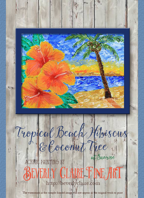 Tropical Beach Hibiscus Coconut Tree Sunrise Painting