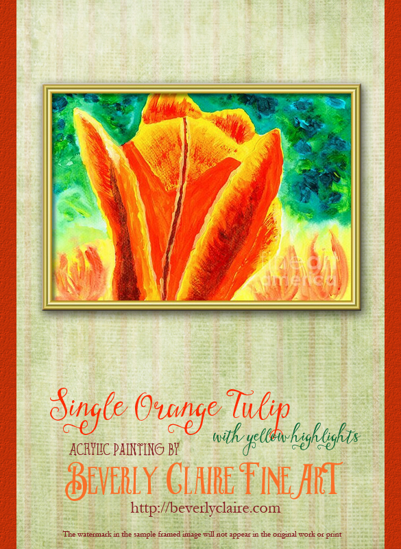 "Framing idea for ""Bright Yellow Orange Tulip"" acrylic painting's enlarged art print version."
