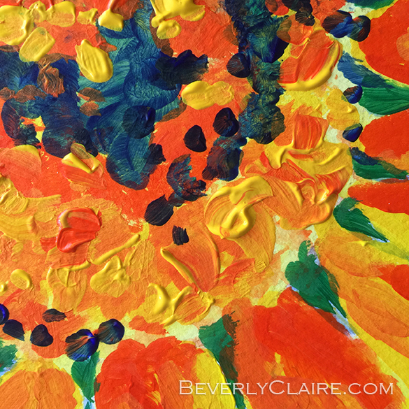 "Detail screenshot of ""Bright and Cheerful Single Sunflower"" acrylic painting"