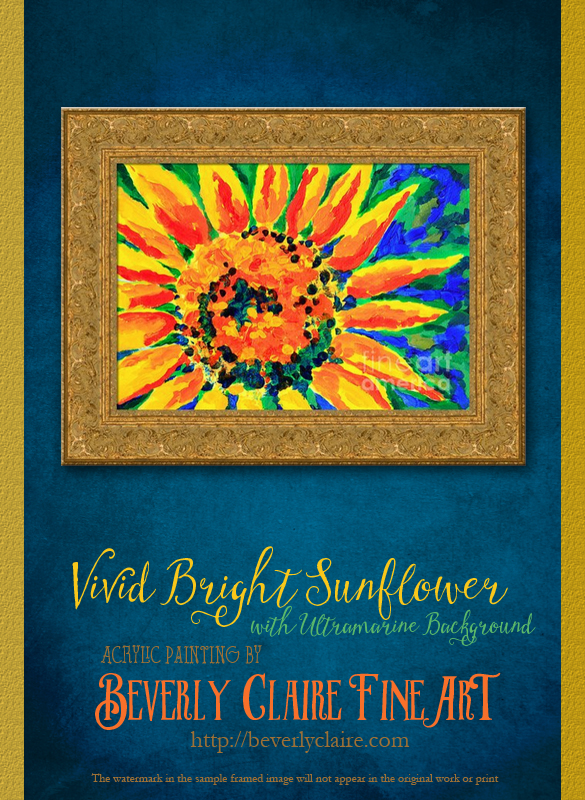 "Framing idea for ""Bright and Cheerful Single Sunflower"" acrylic painting's enlarged art print version."