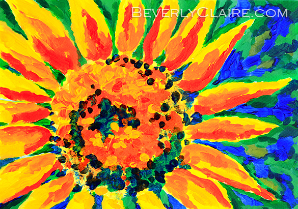 Bright & Colorful Single Sunflower Acrylic Painting