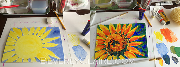 Bright and Cheerful Single Sunflower Acrylic Painting