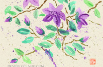 Purple Clematis Watercolor Painting with Washi Paper