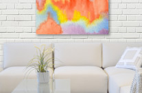 Abstract Watercolor Orange Yellow Blue Purple