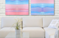 Hand-Painted Watercolor Blue Pink Ombre Gradation