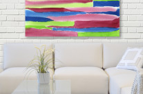 Watercolor Red Blue Green Stripes Pattern