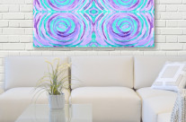 Watercolor Purple Turquoise Swirl Repeating Pattern
