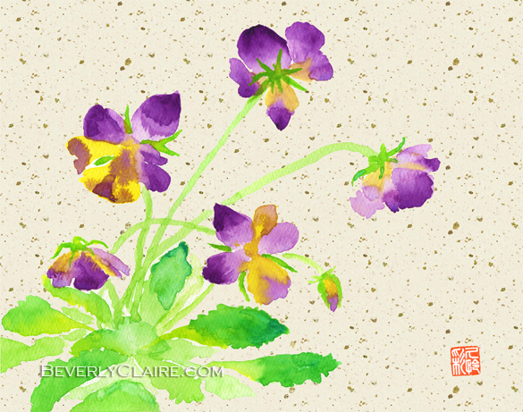 Lovely Pansies in Purple and Yellow with Beige Washi Background by Beverly Claire Fine Art