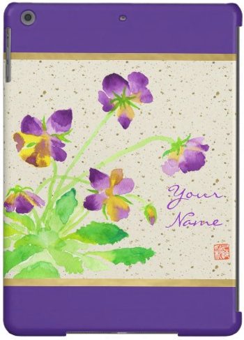 Pansies Watercolor Painting Purple Yellow Washi iPad Air Case