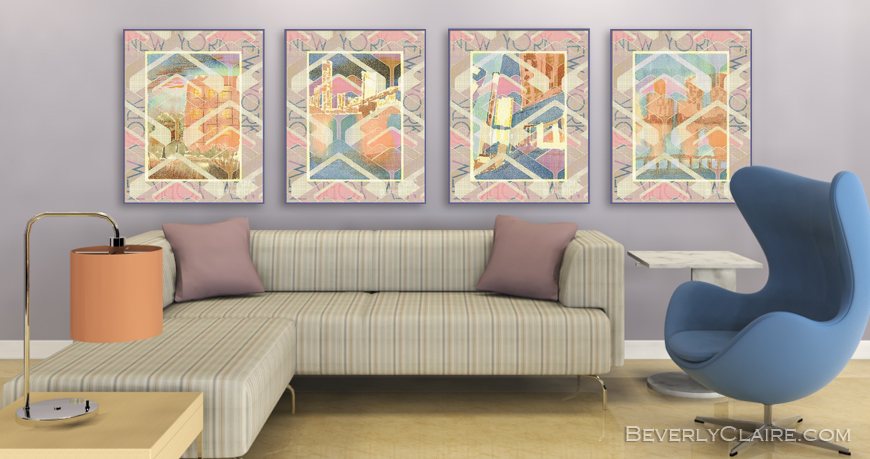 Living Room in Pastel Tones 3D Rendering by Beverly Claire Kaiya