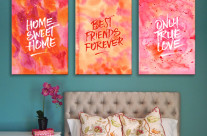 Abstract Watercolor Paintings in Orange & Pink with Quotes