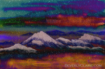Snowy Mountains on a Colorful Winter Night Mixed Media