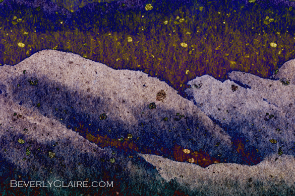 "Detail screenshot of ""Snowy Mountains on a Colorful Winter Night"" watercolor painting"