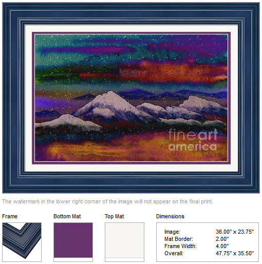 "Framing idea for ""Snowy Mountains on a Colorful Winter Night"" watercolor painting's enlarged art print version."