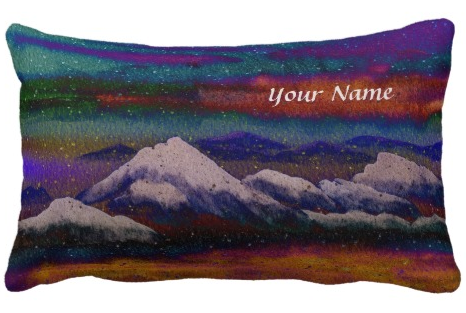 Snow Mountain Peak Colorful Winter Night Snowflake Throw Pillows by Beverly Claire Kaiya