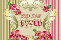 You are Loved Red Roses Gold Ornament Pearl Stripes