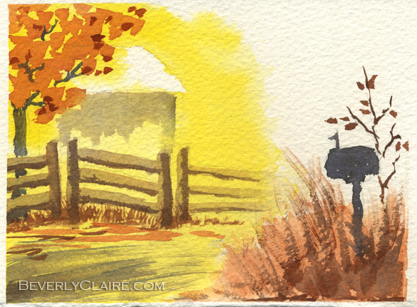 By the Roadside in Autumn watercolor painting by Beverly Claire Kaiya