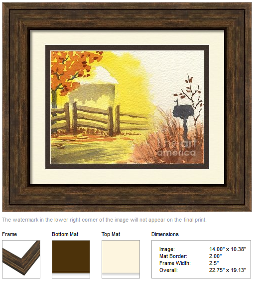 "Framing idea for ""By the Roadside in Autumn"" watercolor painting's enlarged art print version."