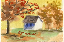 Little Cottage in Autumn Watercolor Painting