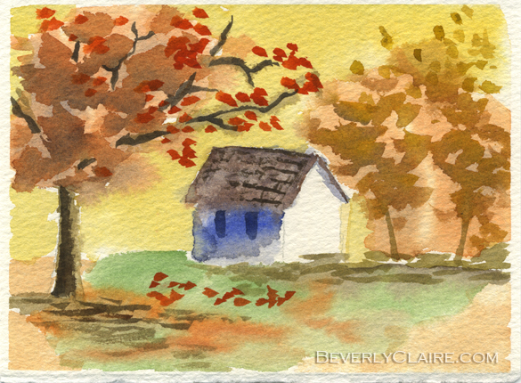 Little Cottage in Autumn mini watercolor painting by Beverly Claire Kaiya