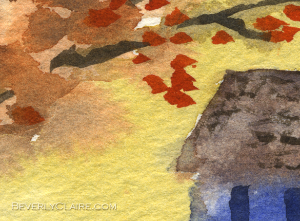 "Detail screenshot of ""Little Cottage in Autumn"" watercolor painting"
