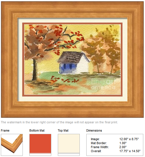 "Framing idea for ""Little Cottage in Autumn"" watercolor painting's enlarged art print version."
