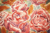 Autumn Roses Watercolor Painting