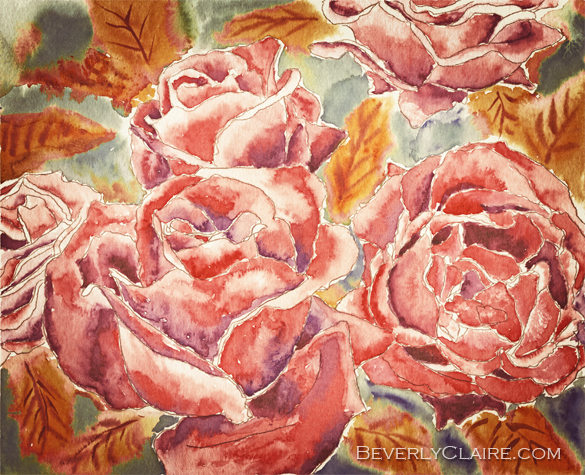 Autumn Roses Watercolor Painting by Beverly Claire Kaiya