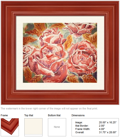 "Framing idea for ""Autumn Roses"" watercolor painting's enlarged art print version."