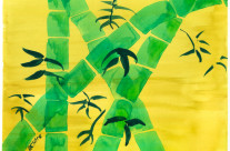 Green Bamboo Grove on Yellow Watercolor Painting