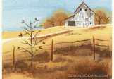 Barn in Autumn Watercolor Painting