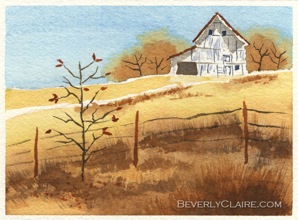 Barn in Autumn watercolor painting by Beverly Claire Kaiya