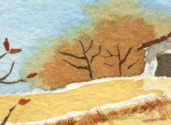 "Detail screenshot of ""Barn in Autumn"" watercolor painting by Beverly Claire Kaiya"
