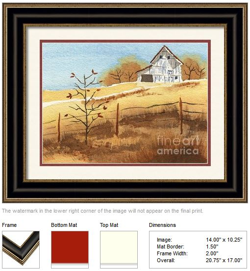 "Framing idea for ""Barn in Autumn"" watercolor painting's enlarged art print version by Beverly Claire Kaiya"