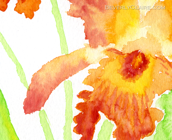 Detail of Orange Cattleya Orchids Watercolor Painting by Beverly Claire Fine Art