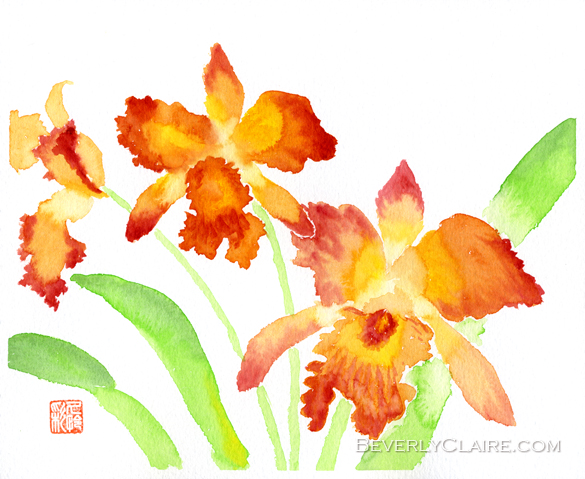 Orange Cattleya Orchids Watercolor Painting by Beverly Claire Fine Art