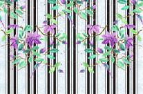 Watercolor Purple Clematis Black Stripes Brick Pattern