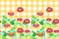 Watercolor Red Gerbera Gingham Yellow Checkered