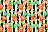 Watercolor Orange Hibiscus Black White Stripes Pattern