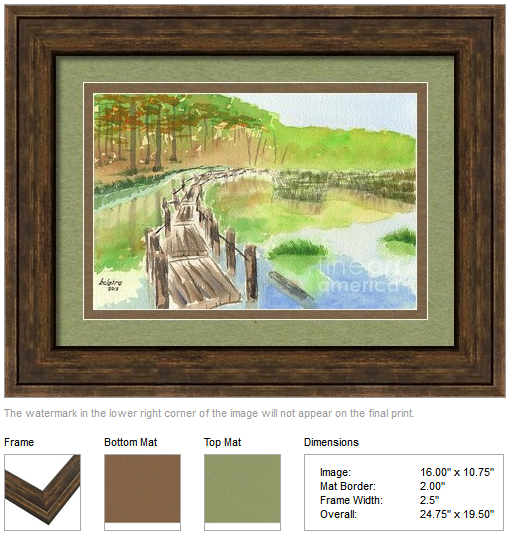 "Framing idea for ""Pond with Rickety Wooden Bridge"" watercolor painting's enlarged art print version."