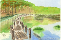 Pond with Rickety Wooden Bridge Watercolor Painting