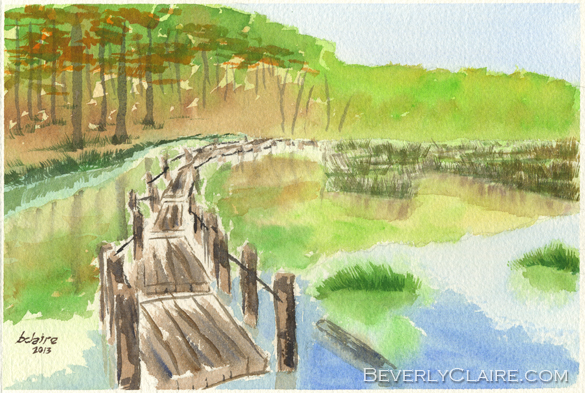 Pond with Rickety Wooden Bridge Watercolor Painting by Beverly Claire Kaiya