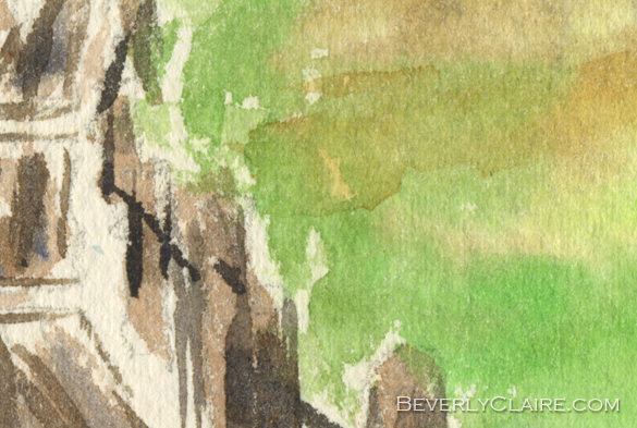 "Detail screenshot of ""Pond with Rickety Wooden Bridge"" watercolor painting"