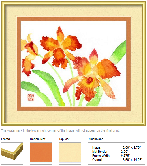 "Framing idea for ""Orange Cattleya Orchids"" watercolor painting's enlarged art print version."