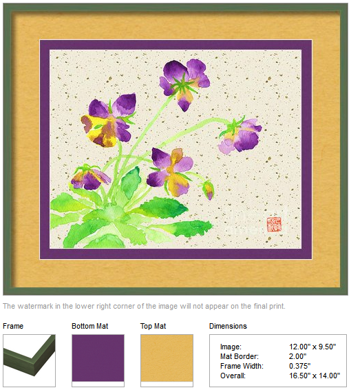 Purple and Yellow Pansies Watercolor with Beige Washi by Beverly Claire Kaiya