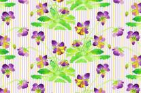 Watercolor Pansies Purple Yellow Lavender Stripes Pattern