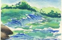 River in the Morning Watercolor Painting